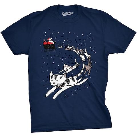 f1c6cbd8dbbcc Mens Cat Sleigh Funny Santa Christmas Holiday T shirt (Navy)