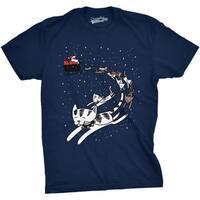 Mens Cat Sleigh Funny Santa Christmas Holiday T shirt (Navy)