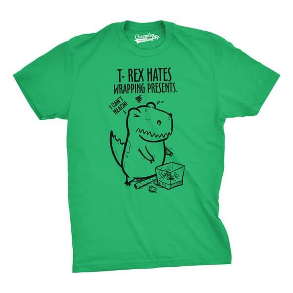 T Rex Christmas.Mens T Rex Hates Wrapping Presents Dinosaur Christmas T Shirt