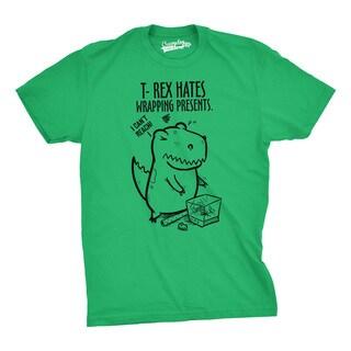 Mens T Rex Hates Wrapping Presents Dinosaur Christmas T shirt