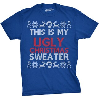 Mens This Is My Ugly Christmas Sweather Funny Holiday Xmas T shirt