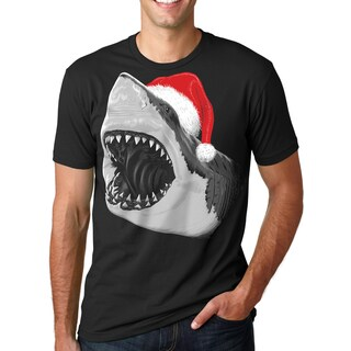 Mens Santa Jaws T Shirt Cool Christmas Hat Shark Pun Tee