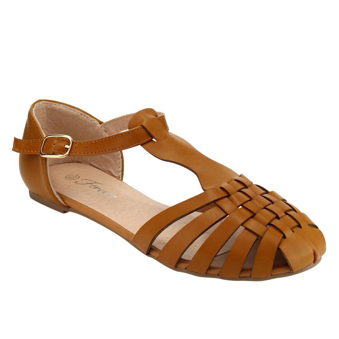 Forever IF70 Women's Weaved Caged T-strap Flat Sandal