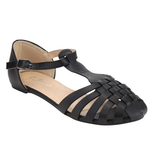 Shop Forever If70 Women S Weaved Caged T Strap Flat Sandal