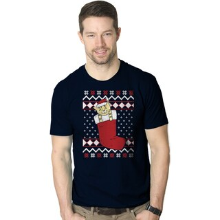 Mens Smiling Cat In Stocking Ugly Christmas Sweater T shirt NAVY