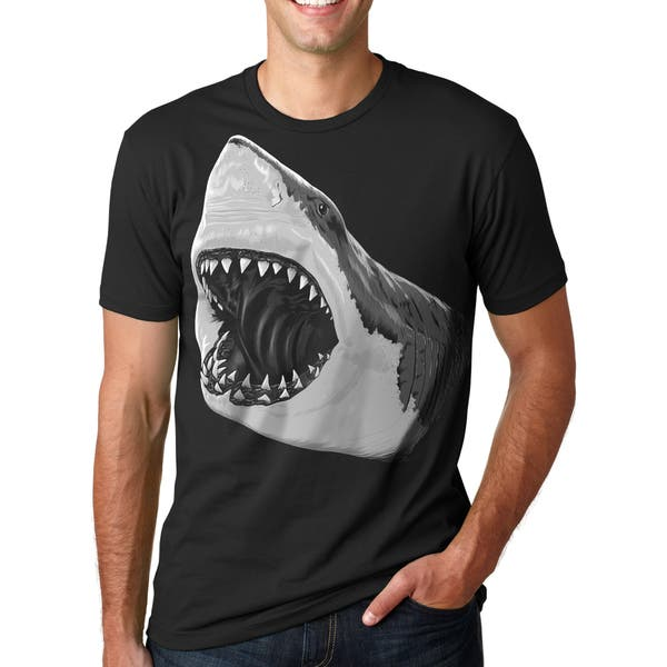 Mens Pearly Great White Shark Jaws Teeth Cool Graphic T shirt