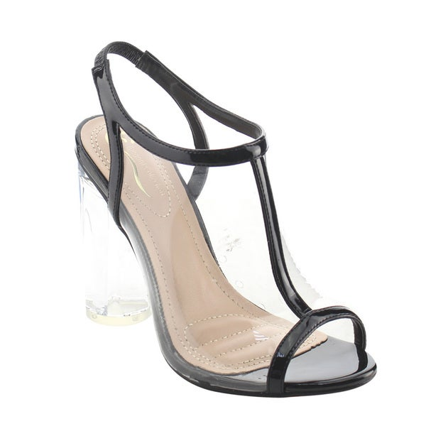 da528660a35 ELEGANT AG96 Women  x27 s Lucite Clear Backless Peep Toe Dress Heels Sandals