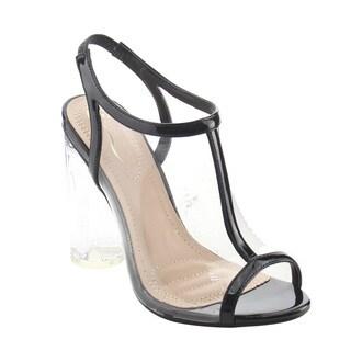 ELEGANT AG96 Women's Lucite Clear Backless Peep Toe Dress Heels Sandals