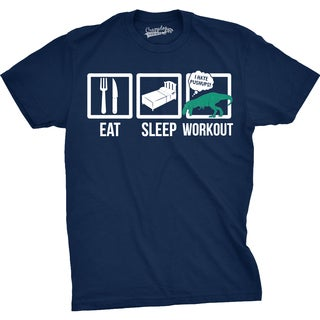 Mens Eat Sleep Workout Boxes Funny Fitness T Rex Dinosaur T shirt
