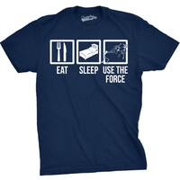 Mens Eat Sleep Use the Force Boxes Funny Vintage Sci Fi Movie T shirt