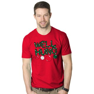 Mens Well Hung T shirt Funny Christmas Tree Ornament Adult Inuendo Tee