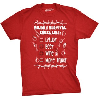 Mens Holiday Survival Checklist T shirt Funny Holiday Christmas Tee (More options available)