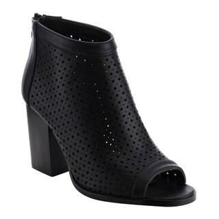 Reneeze AF80 Women's Perforated Peep Toe Wrok Dress Heels Half Size Small