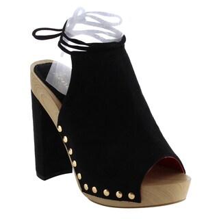 Reneeze AF78 Women's Lace Up Studded Peep Toe Heels Sandals