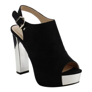 Reneeze AF75 Women's Platform Slingback Ankle Strap Metallic Block Heels