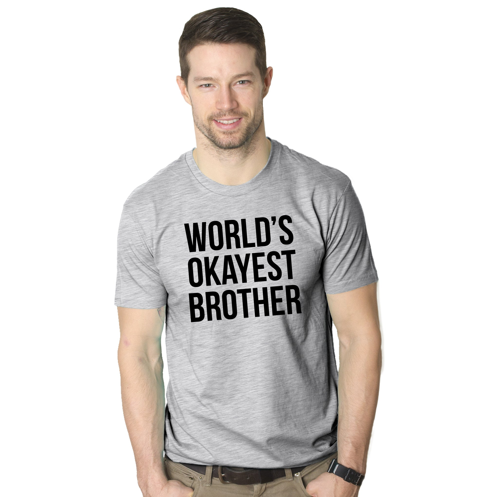 World's Okayest Brother T Shirt Funny Siblings Tee for Br...