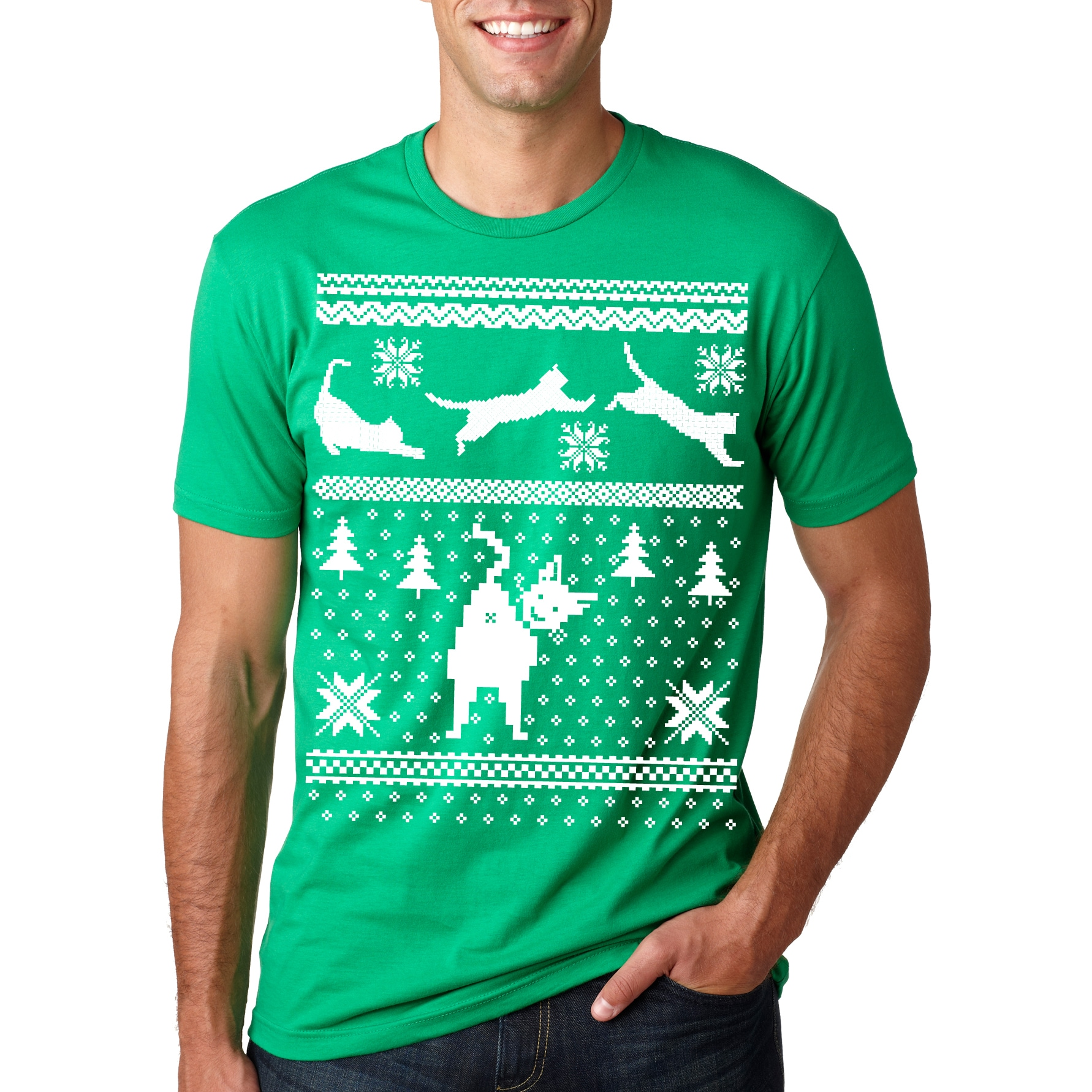 Cat BUTT Ugly Christmas Sweater T Shirt Funny (Green - 4XL)