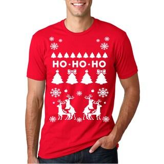 Ho Ho Ho Christmas Tree Shirt Funny Reindeer Xmas Sweater Tee (Red)