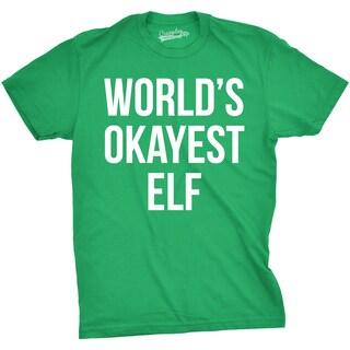 Mens Worlds Okayest Elf T Shirt Funny Festive Holiday Christmas Tee