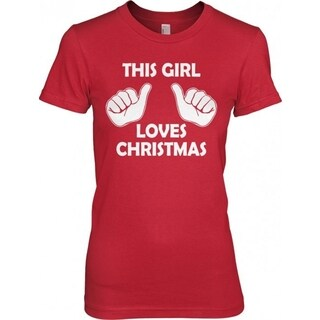 Men's RED This Girl Loves Christmas T Shirt Funny Holiday Shirt Xmas Tee