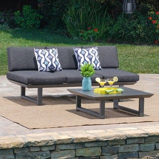 Bronte Outdoor 2-piece Aluminum Seating Sofa Set with Cushions by Christopher Knight Home