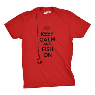 Mens Keep Calm And Fish On T Shirt Funny Tshirt Fisherman Tee Going Fishing (Red)