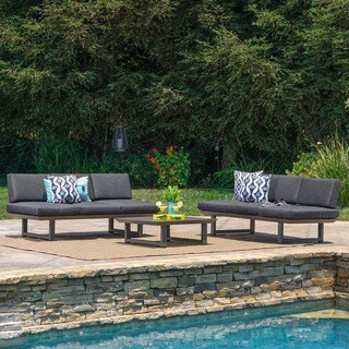Bronte Outdoor 3-piece Aluminum Seating Sofa Set with Cushions by Christopher Knight Home