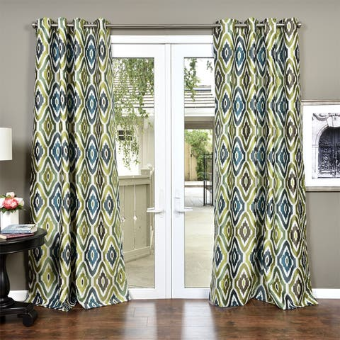 The Curated Nomad Auburn Heavy Faux Silk Jacquard Lined Curtain Panel