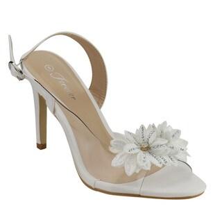 Forever IF75 Women's Flower Rhinestone Sling Back Stiletto Heel Sandals