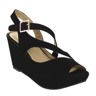 Forever IF98 Women's Stitched Strappy Platform Wedge Sandals