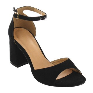 Refresh IE19 Women's Buckle Ankle Strap Wrapped Block Heel Sandal