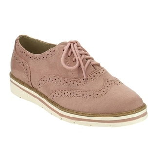 Soda IG04 Women's Lace Up Perforated Wingtip Stitched Dress Oxfords