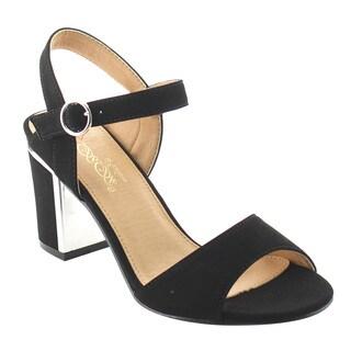 DBDK AG75 Women's Stacked Chunky Heels Buckle Dress Heels