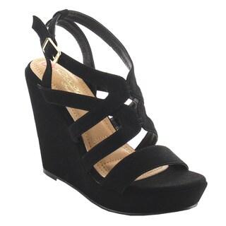 DBDK AG89 Women's Caged Platform Ankle Strap High Wedges Dress Sandals
