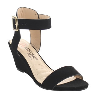 DBDK AG71 Women's Backless Ankle Strap Buckle Dress Wedge Sandal Half Size Small