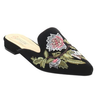 DBDK AG88 Women's Chic Backless Slip On Embroidery Mule Flats