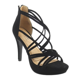 DBDK AG84 Women's Platform Strappy Back Zipper Stiletto Dress Heels