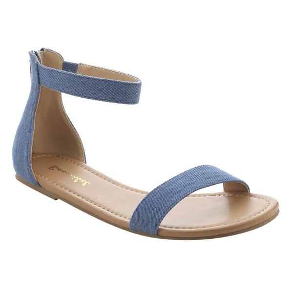 7397ac5c0f1 BONNIBEL FJ89 Women  x27 s Basic Flat Heel Ankle Strap Single Band Sandals