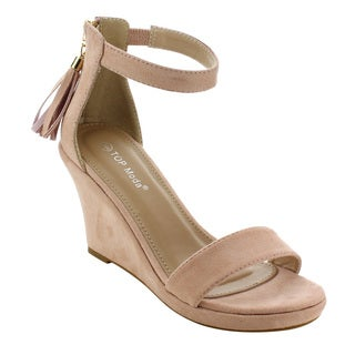 Top Moda EH75 Women's Platform Tassel Zip Ankle Strap Wedge Sandal
