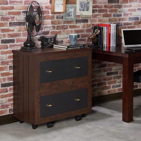 Furniture of America Helron Industrial 2-Drawer Vintage Walnut File Cabinet