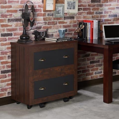 Helron Rustic Vintage Walnut 2-Drawer File Cabinet by FOA