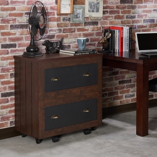 Furniture of America Helron Industrial 2-Drawer Vintage Walnut File Cabinet