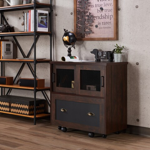 Furniture of America Gena Industrial 1-Drawer Vintage Walnut File Cabinet