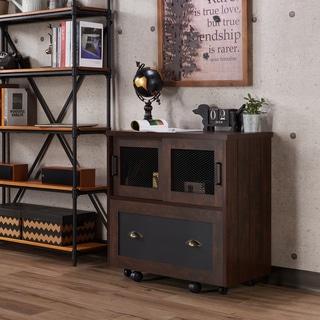 furniture of america gena industrial 1drawer vintage walnut file cabinet