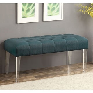 Furniture of America Cisce Contemporary Fabric Button Tufted Acrylic Bench