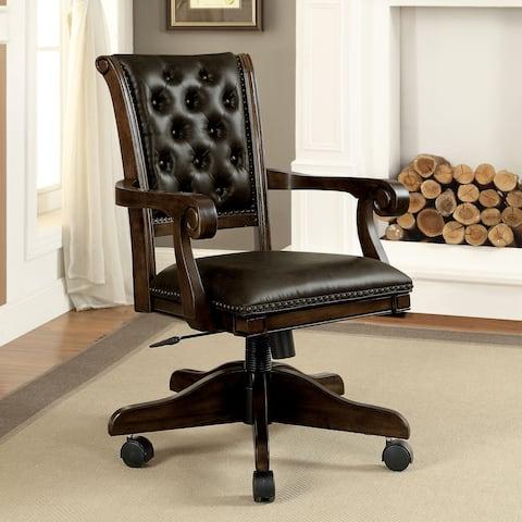 Furniture of America Custard Brown Leather Adjustable Armchair