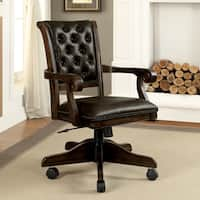 Furniture of America Custard Traditional Tufted Leatherette Caster Adjustable Brown Arm Chair