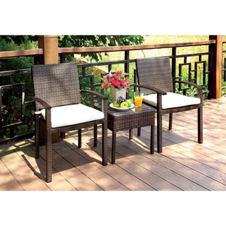 Furniture of America Gleona Contemporary 3-piece Aluminum Wicker Brown Patio Table and Chair Set