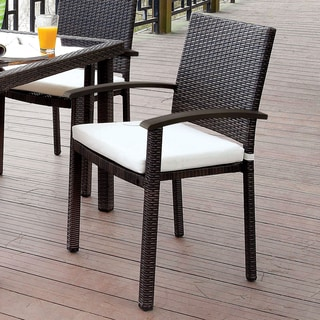 Furniture of America Honely Contemporary Outdoor Aluminum Wicker Brown Arm Chair (Set of 4)