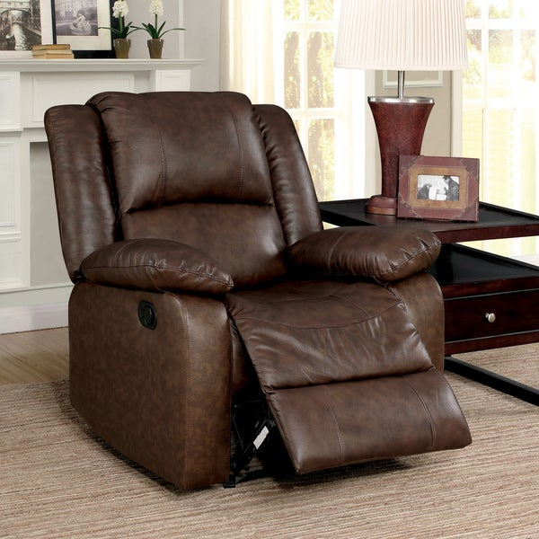 Furniture of America Tevo Modern Brown Leather Glider Recliner